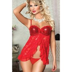 Red underwired sequin-busted strapped babydoll lingerie with open front lace, ruffled trim, holed back, and G-string#red