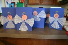 #Christmas cards with angels on the front made out of coffee filters--cute and easy!