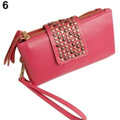 Women-Lady-Nice-Pretty-Rivet-Zipper-Wallet-Clutch-Purse-Wristlet-Evening-Bag-Hot