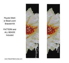 KIT for Peyote Stitch or Bead Loom Bracelet Pattern - Bead Loom Pattern and Delica Beads - Bead Weaving Pattern - PP206 - Flower