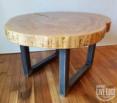 Round Coffee Table- Live Edge- Industrial- Tree Slice- Log- Rustic- Furniture- Living Room- Side Table- End Table- Natural Wood- Maple Slab Log End Tables, End Table Plans, Rustic Console Tables, Rustic Living Room Furniture, Metal Furniture, Furniture Design, Furniture Ideas, Living Rooms, Wood Slice Coffee Table