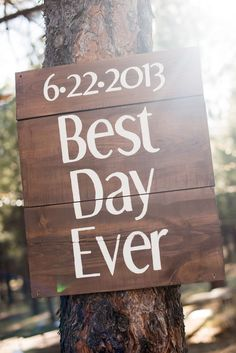 Wood Wedding Sign - nail to a tree?