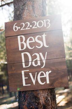 Wood Wedding Sign - nail to a tree?