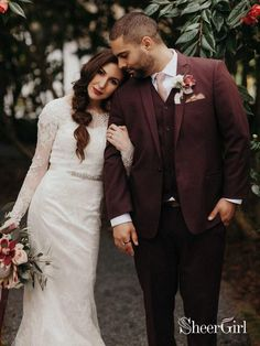 This vintage inspired lace wedding dress features see through long sleeves with lace applique . Luxury Wedding Dress, Modest Wedding Dresses, Wedding Attire, Wedding Gowns, Dream Wedding, Bridesmaid Dresses, Farm Wedding, Best Wedding Suits For Groom, Wedding Table