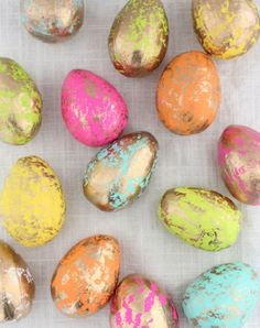 Gold foil eggs. Discover these 14 lovely DIY egg decorating ideas—no crazy shellacking or yolk-blowing necessary.