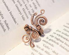 Alambre envuelto  cobre anillo  ajustables del por BeyhanAkman