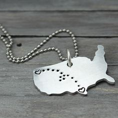 These charming necklaces are stamped with hearts and tiny dots connecting them together. They're perfect for military families, kids away from home, long distance relationships and even sending your 'babies' back to school.
