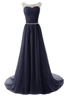 Long Prom dress,Chiffon Prom dress ,Beaded prom dress