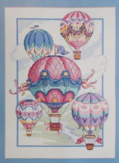 Balloon Fantasy Counted Cross Stitch Kit – Colourful Hot Air Balloons Cross Stitch by SewingMakesMyDay on Etsy