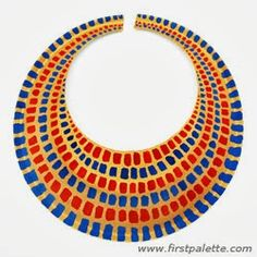 Craft an easy ancient Egyptian collar or necklace out of a paper plate. Wear it as part of an Egyptian costume together with our DIY Egyptian bracelet, Pharaoh Headdress, and ancient Egyptian headband. Ancient Egypt Crafts, Egyptian Crafts, Egyptian Party, Egyptian Costume Kids, Ancient Aliens, Fun Crafts For Kids, Easy Crafts, Art For Kids, Craft Kids