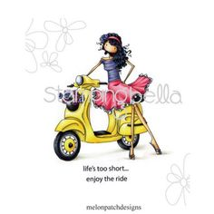 Stamping-Bella-Uptown-Girls-VIENNA-HER-VESPA-Cling-Mount-Rubber-Stamp-eb223