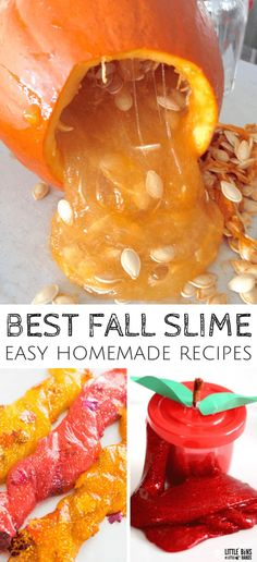 Fall Slime Ideas For Making Homemade Slime with Kids! – Little Bins For Little Hands Fall Slime Ideas For Making Homemade Slime with Kids! fall slime ideas and recipes for easy fall science activities with kids Fall Activities For Toddlers, Fall Crafts For Kids, Science Activities, Science Experiments, Science Projects, Slime Science Project, Fall Crafts For Preschoolers, Science Week, Summer Science