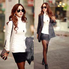 Cool Winter Women Long Sleeve Turtleneck Cotton Stretch T Shirt Bottoming Tops | eBay