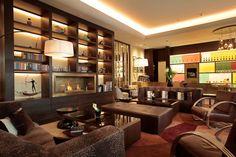 Hotel Kempinski corvinus, Budapest Hungary - mkv design. Traditional lounge area, brown and deep red interior