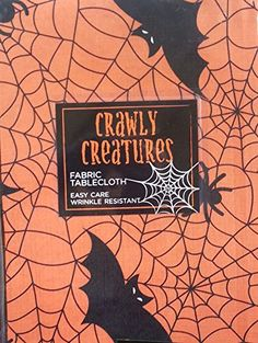 """Halloween Crawly Creatures Spider Web Tablecloth - Stitched Fabric (60"""" x 84"""" Oblong) Crawly Creatures http://www.amazon.com/dp/B00O93FZZE/ref=cm_sw_r_pi_dp_7RB.vb04H2MG7"""