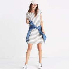 Madewell Retreat Dress. Supersoft and striped, this toss-on tee dress is work-to-whatever easy. Our latest favorite and oh so good.