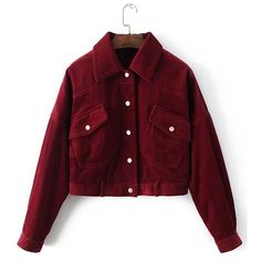 SheIn(sheinside) Flap Pocket Corduroy Western Jacket ($42) ❤ liked on Polyvore featuring outerwear, jackets, burgundy, cordoroy jacket, western jackets, cowboys jacket, lapel jacket and red jacket