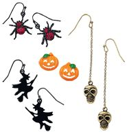 """Halloween Motif Earrings  Pierced:   - Witch is in a gunmetal color   - Skull is in burnished brass, and hangs 2 3/4"""" long   - Pumpkin has an enamel-look   - Spider is in a gunmetal color with faux stones     GOOD TO KNOW   All of Avon's jewelry is nickel-free for those with sensitive skin & allergies to nickel.  Close"""