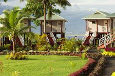 Salani Surf Resort beach front #bungalows in Samoa.