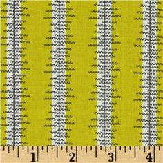 Chicopee Heatwave Stripe Lime - FQ - washed - 8/12 - Whipstitch | Already cut and basted into hexies