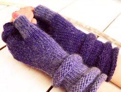 Knit fingerless gloves in sea colors. Long by HandiCraftbyJane