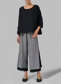 The pants.....(aw)  Linen Dropped Shoulder Long Top