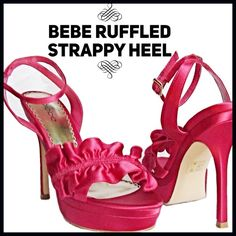 """Bebe Ruffled Strappy Heel Brand new w/o box. Summer's glamour sandal has arrived. Crafted from high-shine satin and in the season's must-have colors, these bebe sandals are sure help you step into the new season in style. Team them with anything from dressy shorts to floor-kissing gowns. Textile upper, fused outsole. Heel height: 5"""" (13 cm with 1.5"""" (4 cm platform. Bebe Shoes Heels"""