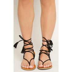 Faux Suede Lace Up Gladiator Thong Sandal ($19) ❤ liked on Polyvore featuring shoes, sandals, black, tassel sandals, roman sandals, black sandals, lace up sandals and black lace up sandals