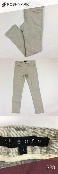 "Theory Light Gray Skinny Jeans Theory Light Gray Skinny Jeans.  Size 6.                                                                                Waistband:  14.5"" Rise:  8"" Inseam:  30"" Condition: excellent - no flaws  Measurements are approximate.  Please refer to fabric content.  No trades.  Offers are welcome. Theory Jeans Skinny"