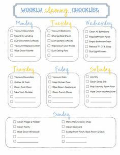 Daily house cleaning schedule with free printable