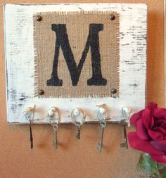 Mongram wall hooks burlap letter M white wall hanging You choose letter and color via Etsy