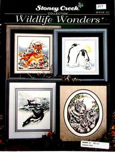 """Cross Stitch Book,""""On The Wild Side"""" By Stoney Creek. A vintager Cross Stitch Pattern of Wild Animals in Nature (Book no 132) //On SPECIAL!!"""