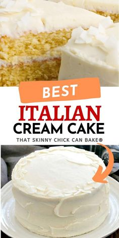 A rich, moist three layer coconut cake with cream cheese frosting! Every decadent bite is worth the calories!! Easy Cupcake Recipes, Delicious Cake Recipes, Homemade Desserts, Yummy Cakes, Snack Recipes, Dessert Recipes, Italian Cream Cakes, Italian Desserts, Cupcake Cakes