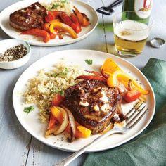 Beef Tenderloin Steaks with Chipotle Butter and Bell Pepper Sauté Recipe   CookingLight.com
