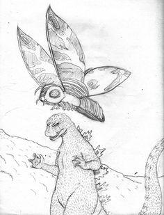 Godzilla vs mothra coloring pages Lion Coloring Pages, Coloring For Kids, Adult Coloring, Coloring Books, Godzilla Vs King Ghidorah, Godzilla 2, Butterfly Coloring Page, Disney Colors, King Kong