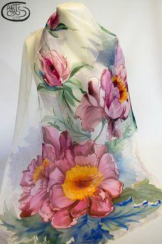 Chal de seda natural 100%  Chifón pintado a mano. por Artodos