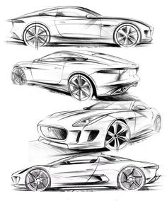 Matthew Beaven's Jaguar concept/production pencil sketches - F-Type Coupe, C-X16 Concept, and C-X75 Concept: