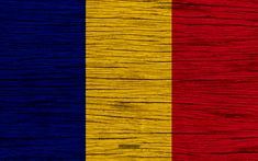Download wallpapers Flag of Romania, 4k, Europe, wooden texture, Romanian flag, national symbols, Romania flag, art, Romania