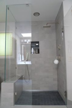 Asian Inspired Bathroom Remodel - Seattle - Villeroy & Boch Tile Bathroom/Closet Floor & Upper half of shower = 2394-RT5M – 12x24 Bernina Grey Shower Pan & Shower Niche = 2411-RT2M – 1x3 Bernina Anthracite Mosaic