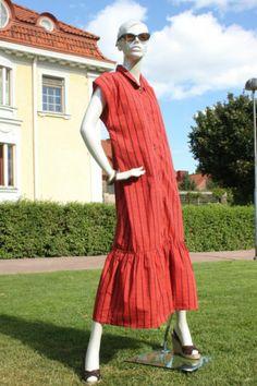 Vtg 70s Orange Vuokko Nurmesniemi Marimekko Designer Full Length Dress L | eBay