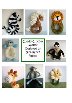 This is a Collection of 8 Baby Rattle Patterns I Designed myself. You will receive The Zebra, Pony, Lion,Teddy Bear,Sock Monkey, Giraffe, Monkey, Daisy