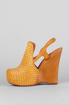 Jeffrey Campbell - Darian Mustard Woven Wedge Slingback Heels.