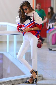 Work a statement sweatshirt like Izabel Goulart in Gucci, Click 'Visit' to buy now. #DailyMail