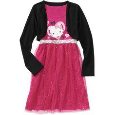 Hello Kitty Girls' Long Sleeve Shrug Dress Size 10/12