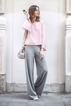 spring outfit, summer outfit, casual outfit, comfy outfit, athleisure outfit, sneakers outfit, street style, summer trends 2016 - pink bell sleeve top, grey knit wide leg pants, white sneakers, grey shoulder bag
