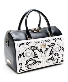 This Cavalli Class Black & White Bella Leather Tote by Cavalli Class is perfect! #zulilyfinds