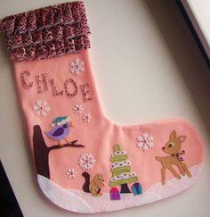Woodland Friends Christmas Stocking -  Custom Personalized Felt Stocking