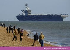 100,000 ton American aircraft carrier USS Theodore Roosevelt off the coast of England