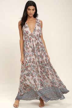 0a7b9e60ea65 Let the Wings of Fancy Blush Pink Floral Print Maxi Dress carry you