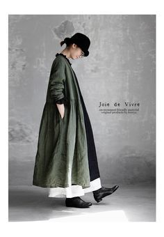 BerryStyle: Joie de Vivre Italy linen vintage processing dyeing Cache-coeur dress - Purchase now to accumulate reedemable points! 70s Inspired Fashion, 70s Fashion, Daily Fashion, Korean Fashion, Winter Fashion, Classy Fashion, French Fashion, Style Fashion, Mori Fashion